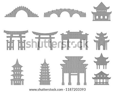 set of pixel japanese bridges