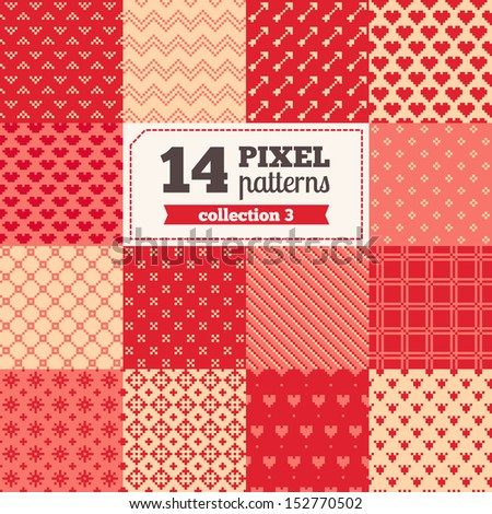 Set of pixel patterns - Valentine's Day All patterns were added in Swatches palette