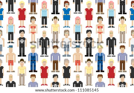 Set of pixel people. Vector illustration.