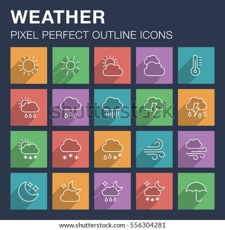 Set of pixel perfect outline weather icons with long shadow. Editable stroke.