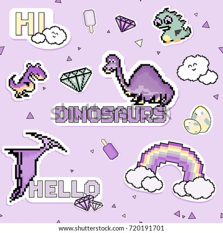 Set of pixel stickers, patches dinosaurs. .Ideal for children room decoration, wrapping, cards, baby shower, banners, backgrounds. Colorful 8-bit set.