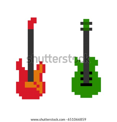 Set of 2 pixelated acoustic guitars - isolated vector illustration