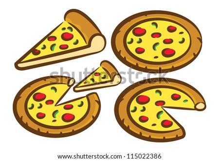 set of pizza doodle
