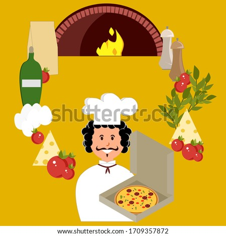 Set of pizza ingredients and cook, pizza, eggs, oil, flour, spices, oven, cheese, tomatoes. Vector painting art