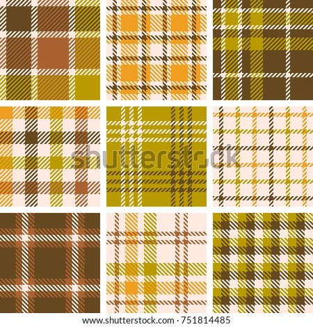set of plaid seamless pattern for fall season