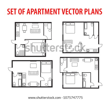 Set of plan, architectural project blueprint apartment, studio, condominium, flat. Black and white house floor plan. One bedroom house/apartment. 1 Bedroom and 1 Bathroom with furniture.
