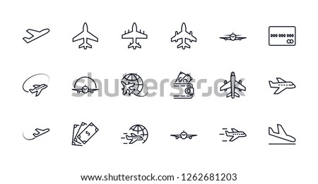 set of plane vector line icon