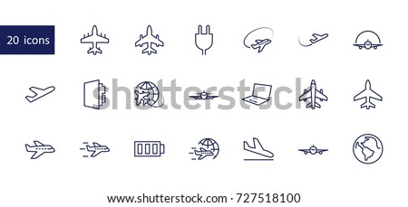 set of plane vector line icon