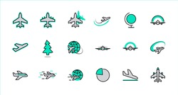 Set of Plane vector line icon. It contains symbols to aircraft, globe and more. Editable Stroke. 32x32 pixels.