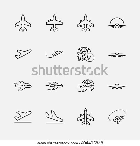 Set of plane vector line icon. It contains symbols to aircraft, globe and more. 32x32 pixels.