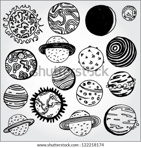 set of planets hand drawn
