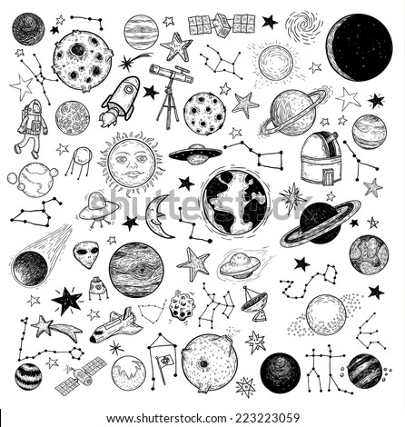 set of planets icon  hand drawn
