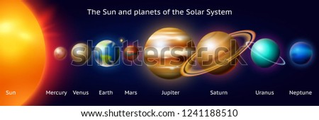 Set of Planets of the solar system. Milky Way. Realistic vector illustration. Space and astronomy, the infinite universe and the galaxy among the stars in the sky. Sphere Mars Venus Sun Earth Jupiter.