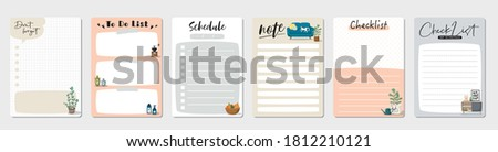 Set of planners and to do list with home interior decor illustrations. Template for agenda, schedule, planners, checklists, notebooks, cards and other stationery