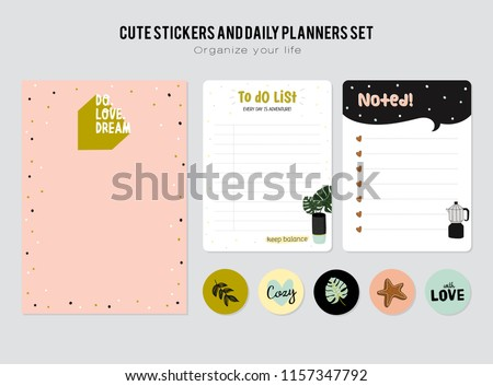 Set of planners and to do lists with simple scandinavian illustrations and trendy lettering. Template for agenda, planners, check lists, and other stationery. Isolated. Vector.