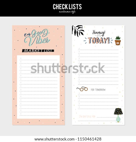 Set of planners and to fo lists with simple scandinavian illustrations and trendy lettering. Template for agenda, planners, check lists, and other stationery. Isolated. Vector. White background