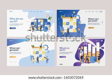 Set of planning boards. Flat vector illustrations of employees sticking paper notes on Kanban boards, analyzing information. Business concept for banner, website design or landing web page Сток-фото ©