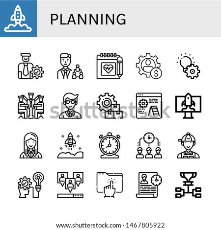 Set of planning icons such as Startup, Manager, Schedule, Management, Development, Time management, Strategic, Viral, Directory , planning