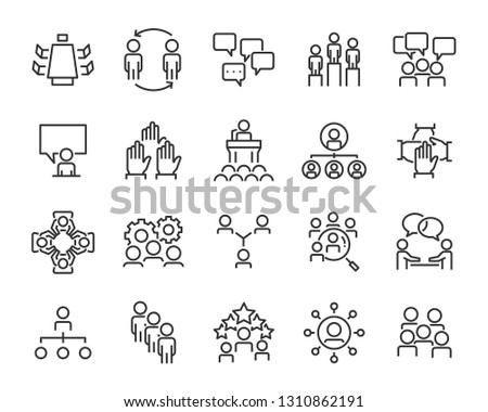 set of planning icons, such as strategy, time, meeting, brainstorm, vote, action plan
