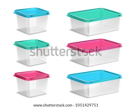 Set of plastic food containers of various volume with colored lids and transparent bowls isolated vector illustration