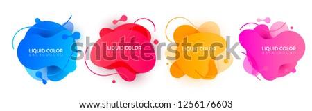 Set of plastic liquid gradient waves with geometric lines
