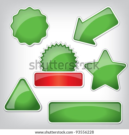 Set of plastic stickers with different shapes and glossy surface. Good for web icons, discount markers, price tags.