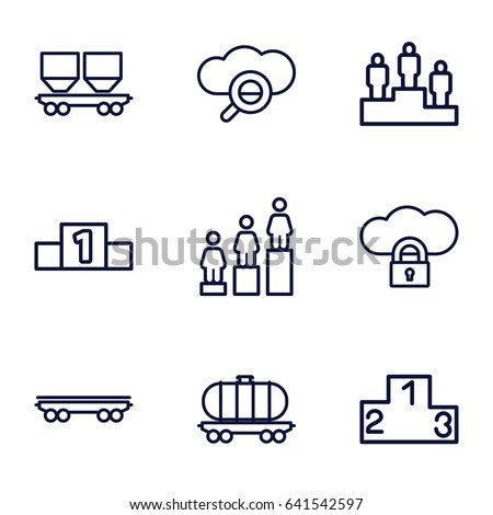 Set of 9 platform outline icons such as ranking, cargo wagon, search cloud