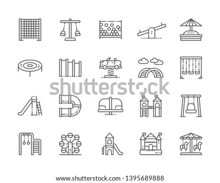 Set of Playground Line Icons. Kids Climbing Rope Net, Swing, Double Seesaw, Sandbox, Trampoline, Curved Ladder, Slide, Carousel, Ferris Wheel, Bouncy Castle and more. Pack of 48x48 Pixel Icons Foto stock ©