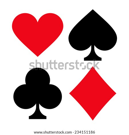 Set of playing card suits isolated on white background
