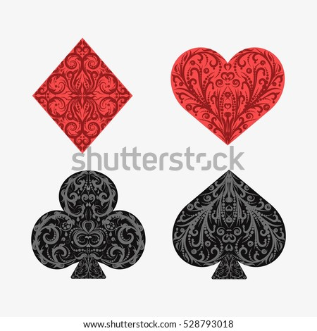 Set of playing card suits. Isolated on white background. Four card suits. Spades, clubs, diamonds, hearts. Vintage decorative symbols