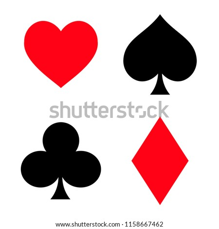 Set of playing card symbols. flat vector illustration isolate on a white background. easy to use