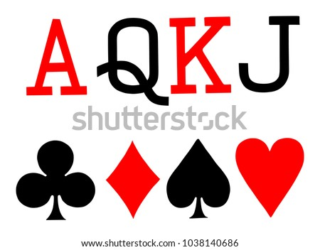 Set of playing card symbols vector on white background. Spade, heart, club, diamond, ace, queen, king, jack.