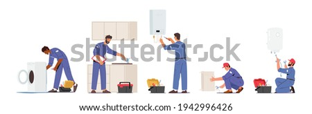 Set of Plumber Male Characters Repair Broken Technics Washing Machine, Sink, Heater and Heating Pipes. Plumbing Handyman Service, Call Master Fixing Home Appliances. Cartoon People Vector Illustration