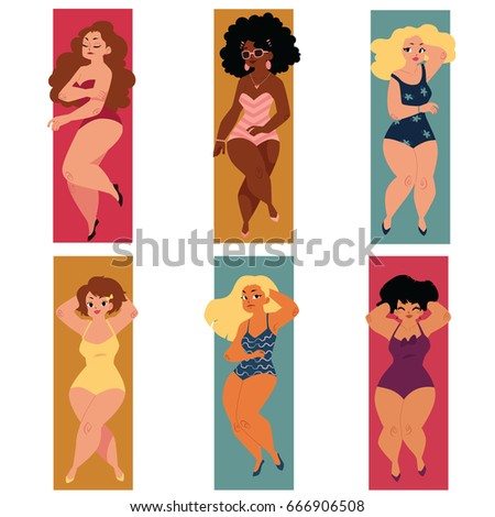 Set of plump, overweight, plus size curvy women, girls in swimming suits lying on the beach, cartoon vector illustration isolated on white background. Set of plump, overweight women in swimming suits