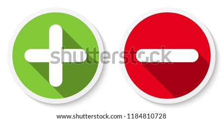 Set of plus & minus sign icons, buttons. Flat round positive & negative symbol stickers. Vector EPS 10 Stockfoto ©