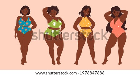 Set of plus size african american woman in swimsuit isolated vector illustration. Modern hand drawn design clip art. Love your body. Body positive. Diffrent body types.