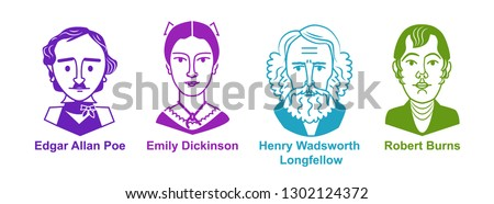 set of poets icons vector