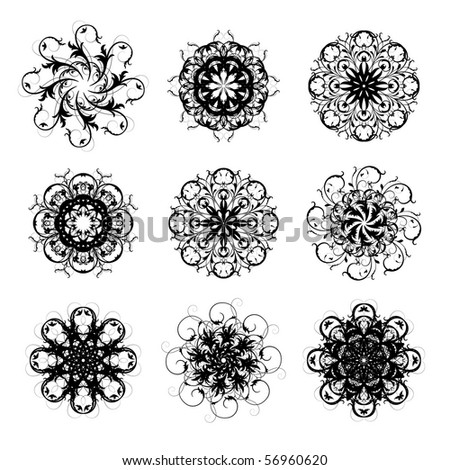 set of 8-pointed abstract stars, vector. Lots of details. No autotracing.