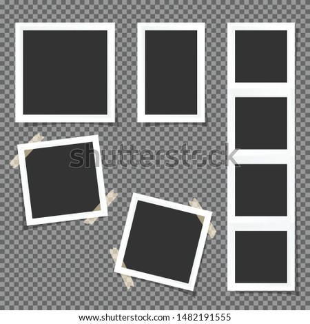 Set of Polaroid square frames isolated on transparent background.