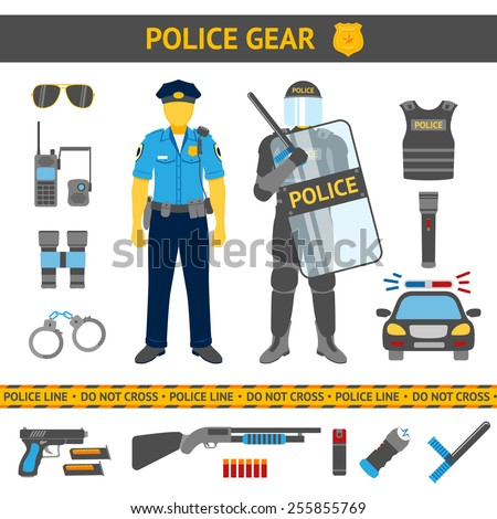 set of police icons   gear  car