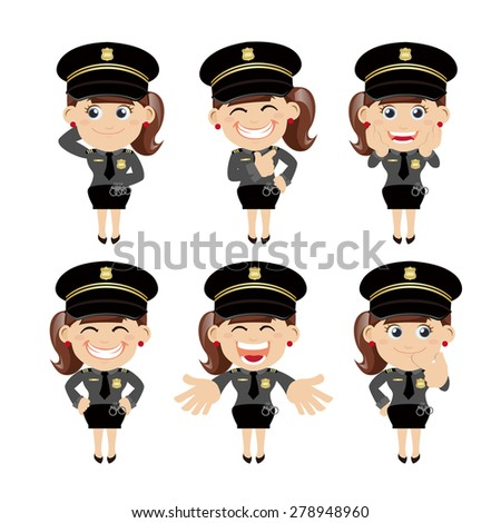 set of policeman characters in
