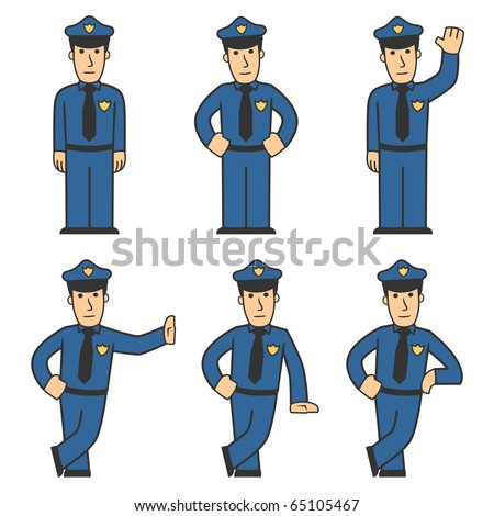 set of policeman in different poses on white background