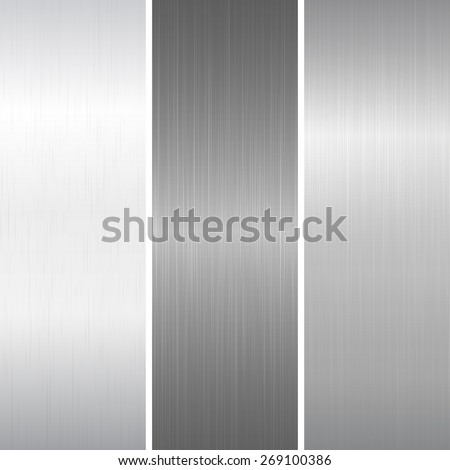 set of polished metallic surface