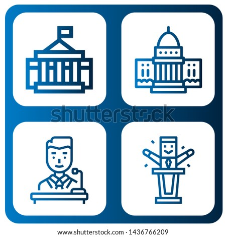Set of politics icons such as White house, Politician , politics