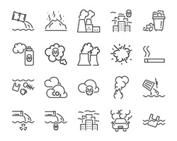 set of pollution icons such as, global warming, air pollution, plastic, climate change
