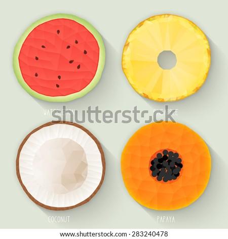 set of polygonal fruit halves