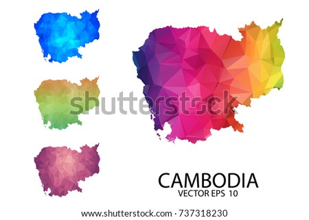 Set of Polygonal Map blank on white Background - Cambodia map of isolated. Vector Illustration Eps10.