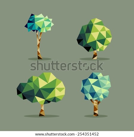Set Of Polygonal Origami Tree Icon Illustration Ideal For Web Ecology Brochure