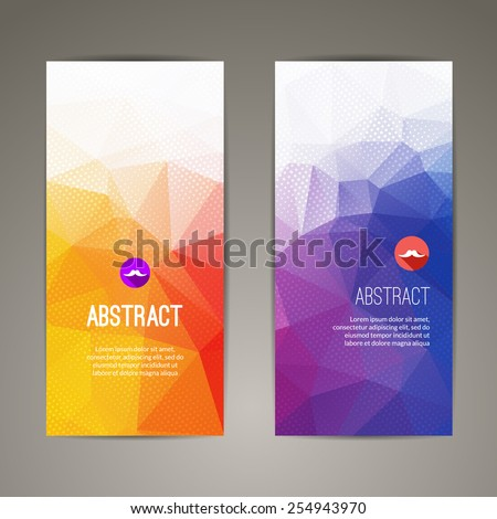 Set of polygonal triangular geometric banners for modern design