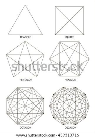 Set of polyhedrons, illustration on white background, vector